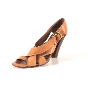 CHLOE Leather Strap Sandal Heels